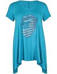 Womens New Diamante Rolling Stones Lips Ladies Short Sleeve Scoop Neckline Uneven Shaped Stretch Long T-Shirt Top Plus Size