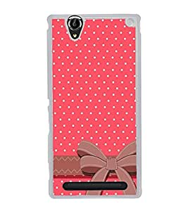 Pink Pattern with Bow 2D Hard Polycarbonate Designer Back Case Cover for Sony Xperia T2 Ultra :: Sony Xperia T2 Ultra Dual SIM D5322 :: Sony Xperia T2 Ultra XM50h