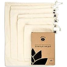 Collingwood Ecoware - Juego de 6 bolsas reutilizables de algodón orgánico – lavables y biodegradables –