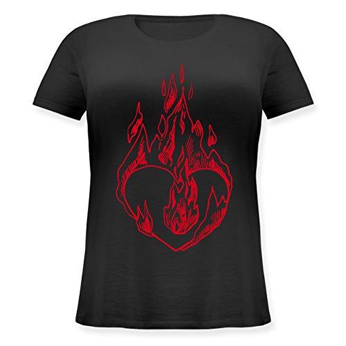 Valentinstag - Entflammtes Herz - Lockeres Damen-Shirt in großen Größen mit Rundhalsausschnitt Schwarz