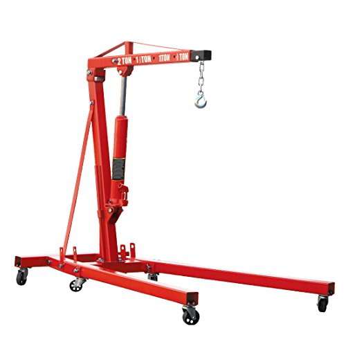 Wolf 2 Ton Folding Engine Crane Machinery Lift jack with Wheels Workshop Mechanic Garage Equipment Test