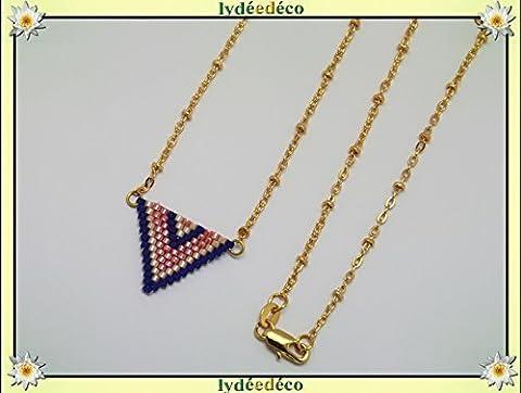 Collier plaqué or perles japonaises bleu rose pastel beige tissage
