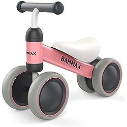 Bammax Bicicleta sin Pedales para Niños, Juguetes Bebes 1 Año Triciclos Bebes Correpasillos Bebes Regalos cumpleaños Bici sin Pedales niño, Rosa