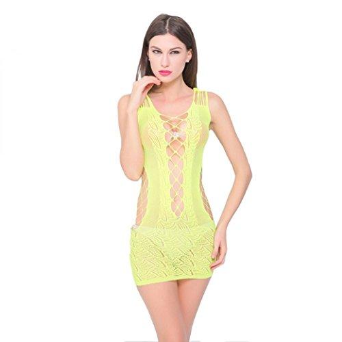 Hansee Babydoll Kleid, Sexy Womens Dessous Spitze Unterwäsche Nachtwäsche Chemise Dress (Gelb) - Spitzen-chemise Nachtwäsche