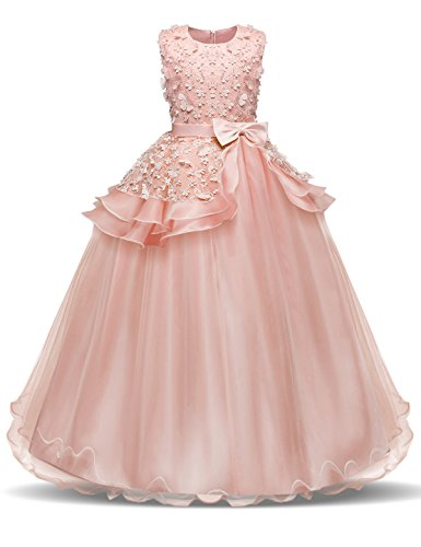 NNJXD Girl Sleeveless Embroidery Princess Pageant Dresses Prom Ball Gown for 5-14 Years