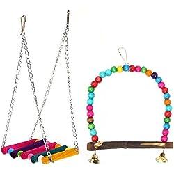 Perlas de madera coloridas para colgar, diseño de pájaros