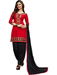 Aadhya Creartion New Arrival Embroidred Unstitch Red Colour Cambric Cotton Party Wear Punjabi Patiyala Patiala...