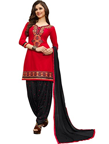 Aadhya Creartion Embroidred Red Colour Cambric Cotton Regular and Party wear Punjabi...