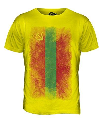 CandyMix Transnistrien Verblichen Flagge Herren T Shirt Zitronengelb