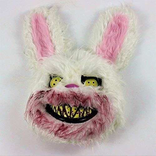 QIAO Halloween-Horror-Kaninchenmann-Maskentiermaske der blutigen - Gruselige Kaninchen Kostüm