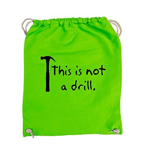 Comedy Bags - This is not a drill - HAMMER - Turnbeutel - 37x46cm - Farbe: Schwarz / Pink Hellgrün / Schwarz