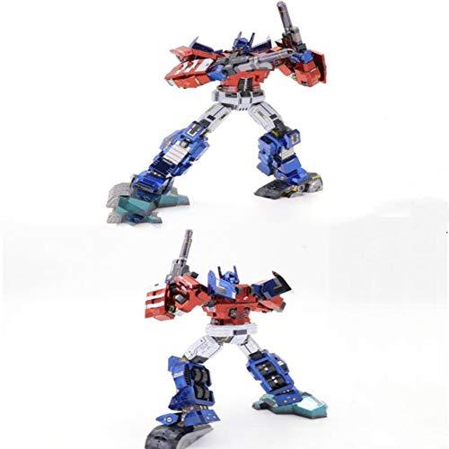 Handmade Comic-Version Optimus Prime Metall montiert Modell schwierig 3D dreidimensionales Puzzle Kinderspielzeug Geschenke Rot + Werkzeug B One Size