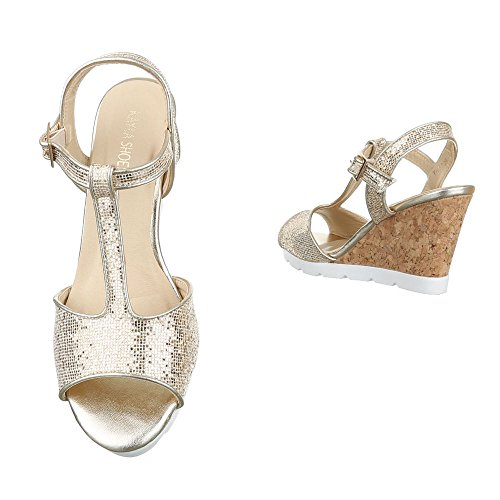Keilsandaletten Damen Schuhe Plateau Keilabsatz/ Wedge Keilabsatz Schnalle Ital-Design Sandalen / Sandaletten Gold