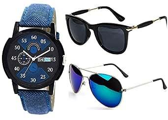 Sheomy Unisex Combo Pack of Aviator Sunglasses for Men and Women - Mirrored Sunglasses (Black Gold - Grey Green) (CM-NEW-GG-0051)
