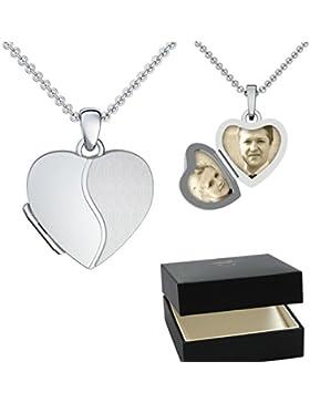 Herz Medaillon zum Öffnen Silber 925 mit ❤ GRATIS LUXUS Etui ❤ Gravur Foto Herz-Kette Foto-Kette Amulett Halskette...