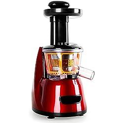 KLARSTEIN Fruitpresso Bella Rossa - Centrifugeuse, Presse-Fruits Vertical, Micro Filtre en Acier Inoxydable, Slow Juicer, 150 Watt, 70 Tours/Min, Marche Avant/arrière, Presse en vis, Rouge