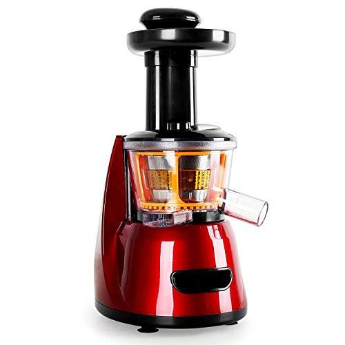 Klarstein Fruitpresso Bella Rossa - Entsafter, vertikale Saftpresse, Edelstahl-Mikrosieb, Slow Juicer, 150 W, 70 U/min, Schneckenpresswerk, 2 Behälter mit je 600 ml, Presswerk, rot