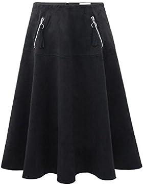 Primavera nuevo estilo cintura alta delgada faldas largas plus size vestidos en falda de terciopelo de venado...