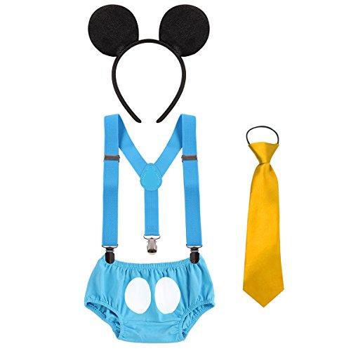 ie Requisiten Outfit Neugeborenen Bloomer Shorts + Krawatte + Hosenträger + Stirnband 4pcs Kleidung Set für 1. / 2. Geburtstag Kostüm für Säugling Jungen Mädchen 3-24 Monate (Gute Disney-halloween-kostüme)