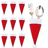 Faburo 10 x Tischdekoration Weihnachtsdeko Tischdeko Weihnachtsmann Hut für Bestecktasche Weihnachten Deko Besteckbeutel Besteckhalter