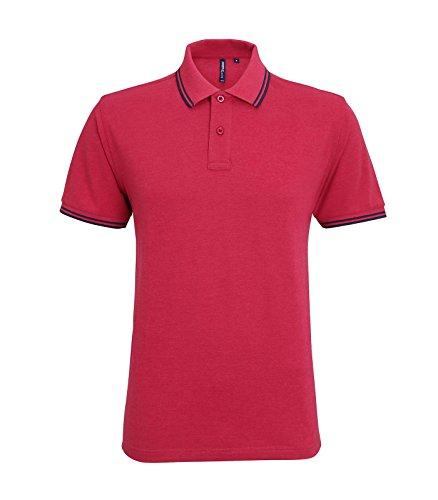 Asquith Fox Herren Poloshirt Rot - Red Heather / Navy