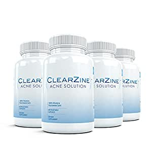 Clearzine (4 Bottles) - The Top Rated Acne Treatment Pill. Eliminates Acne, Blackheads, Redness, Blotchiness and Zits - 60 capsules per bottle