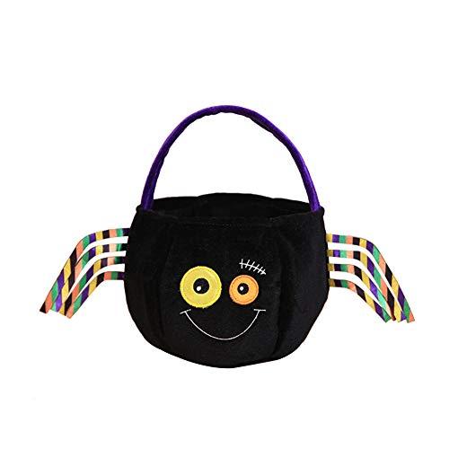 Cosanter Halloween Kleinen Korb Tragbare Süßigkeiten Tasche Kinder Make-up Party Kostüme (Schwarzes Spinnen Muster)