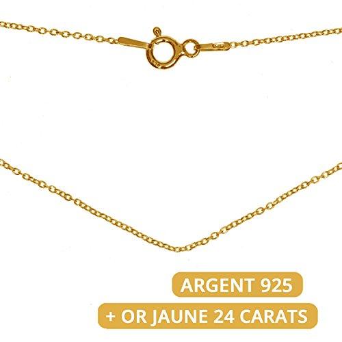Chaîne de 45 cm femme - en ARGENT 925 + OR Jaune 24 carats - maille fine et délicate - pour collier