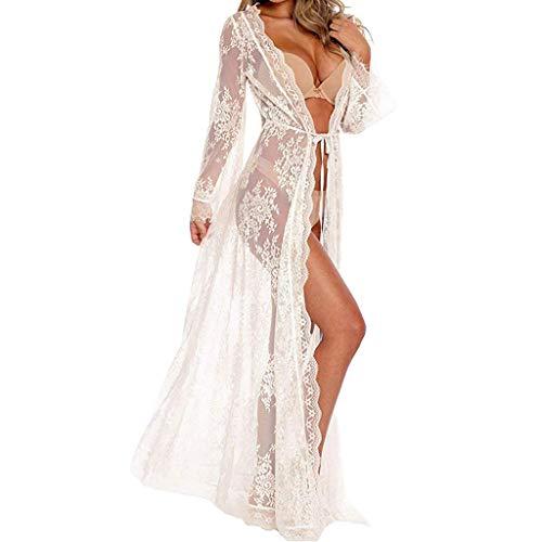TianranRT❤ Frau Sommer Lange Boho Floral Bedruckte Pareo Kimono Seide 3/4 Ärmel Hemd Chiffon Und Spitze Badeanzug Strandkleid Bikini Vertuschung Strickjacke -