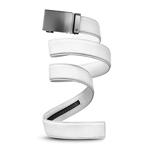 Mission Belt Ledergürtel mit Ratschenverschluss für Herren, 40mm lang, Metall-Kollektion Gr. XX-Large, Gun Metal Buckle & White Leather