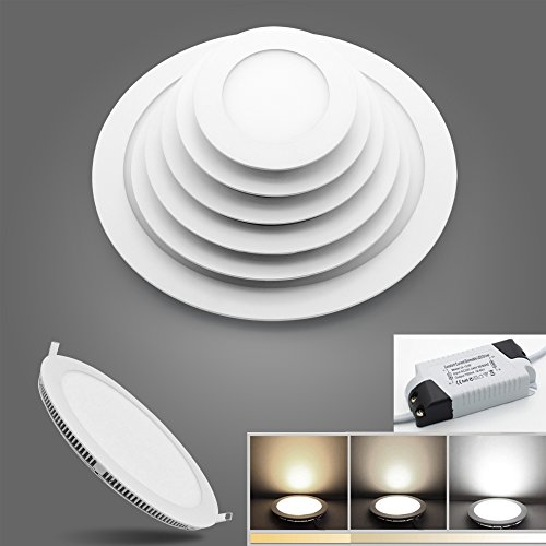 BAODE 6-24W LED Panel Leuchte Dimmbar Deckenlampe Rund Ultraslim Einbaustrahler 105-280mm(18W/205mm,Warmweiß Dimmbar)