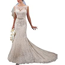 HUINI Sheer Lace Applique Nupcial Beads Sashes Sirena Vestidos de Novia