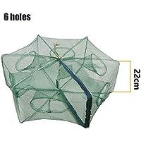 Alaojie Automatic Fishing Net Folding Fishing Net Shrimp Cage Nylon Foldable Crab Fish Trap Cast Mesh, Beige, 6 Holes