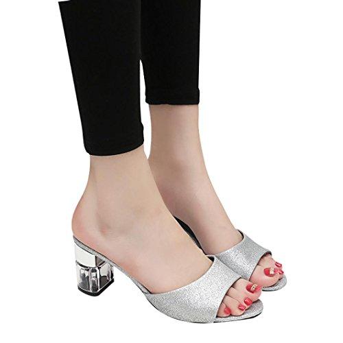 Sandales, Malloom Femme Talon haut d'été Tongues Flâneurs Bohemia Chaussures Argent
