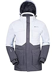 Mountain Warehouse Luna Mens Ski Jacket - Waterproof Mens Jacket, Breathable, Taped Seams Rain Coat, Detachable Snow Skirt – For Camping in Cold Weather