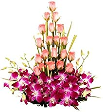 FloraZone Stylish & Pretty Basket Arrangement of Roses and Orchids Same Day Delivery