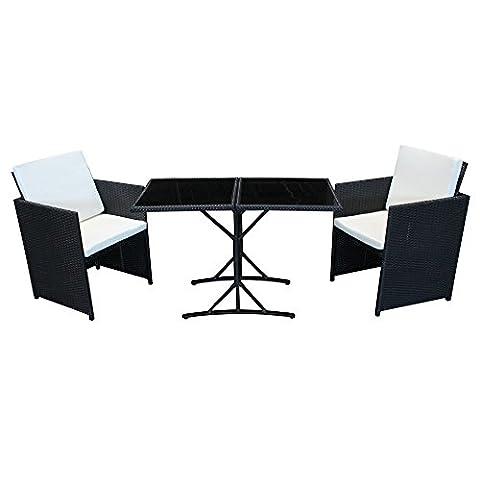 POLY RATTAN Sitzgruppe Essgruppe Set Farbwahl - Cube Sofa-Garnitur Gartenmöbel Lounge Farbwahl (2er Garnitur,