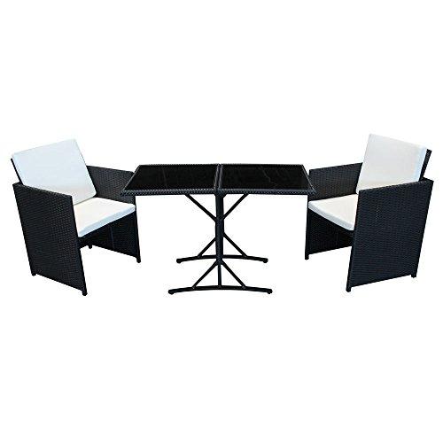 POLY RATTAN Sitzgruppe Essgruppe Set Farbwahl - Cube Sofa-Garnitur Gartenmöbel Lounge Farbwahl (2er Garnitur, Schwarz)