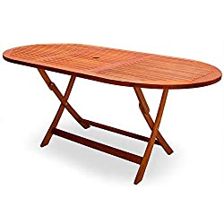Deuba Wooden Garden Dining Table Alabama FSC®-Certified Eucalyptus Wood Folding Dining Table Umbrella Holder Eucalyptus Wood 160 x 85 cm