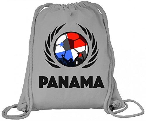 Wappen World Cup Fussball WM Fanfest Bio Baumwoll Turnbeutel Rucksack Gym Bag Fußball Panama Heather Grey