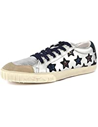 Ash Majestic Silver Metallic Leather Star Motif Trainers