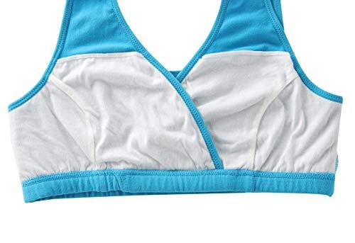 Manci Baumwolle Still BH, Damen Schwangerschafts Still BH für Stillen und Schlaf (Schwarz + Grau + Blau, XL/38B,38C,38D) - 4