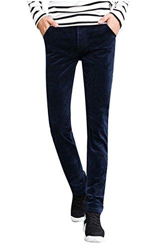 Menschwear Herren Cordhose strecken Baumwolle schlanke Passform Blau 33