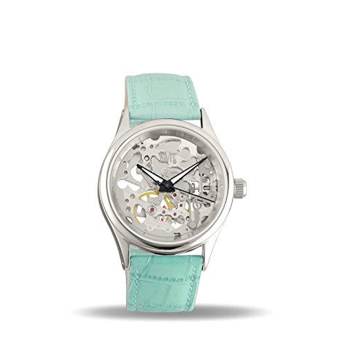 Davis 1680T - Womens Skeleton Watch Hand wind Mechanical Movement Turquoise leather Strap