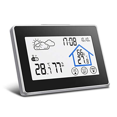 Wireless Weather Station, DIGOO DG-TH8380 Digital Thermometer Hygrometer  with Outdoor Sensor, Touch Button, Weather Forecast, Time Date Display for