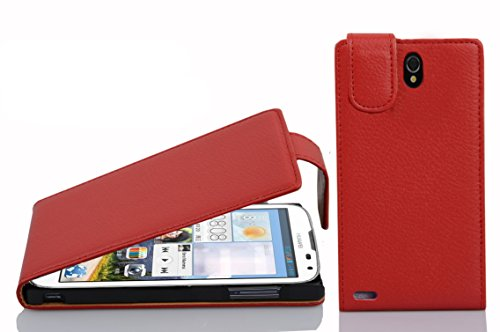 Cadorabo Hülle für Huawei ASCEND G610 - Hülle in INFERNO ROT – Handyhülle aus strukturiertem Kunstleder im Flip Design - Case Cover Schutzhülle Etui Tasche
