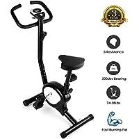 AGM Bicicleta Estáticas, Fitness Bike, Bicicleta Entrenamiento Resistencia Ajustable, Calorías, Distancia, Tiempo, Velocidad, MAX del Usuario hasta 100kg