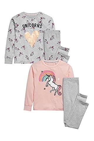 next Fille Lot De Deux Pyjamas Rose Et Gris À Motif Licorne Avec Leggings (3 À 16Ans)