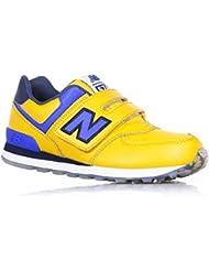 NEW BALANCE - Zapatilla deportiva amarilla y azul marino, en cuero y tela, con velcro, logo lateral y posterior, Niño, Niños