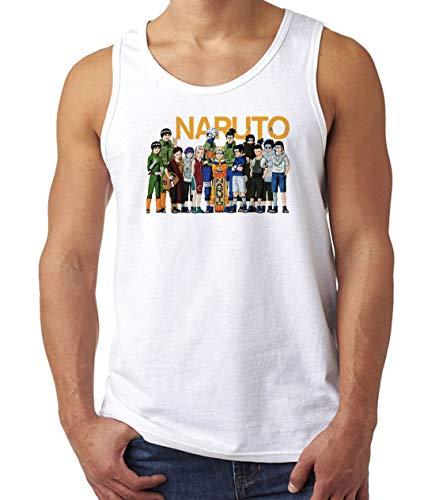 Herren Naruto Alle Charaktere Kunst Muskelshirt Tank Top T-Shirt Weiß XL